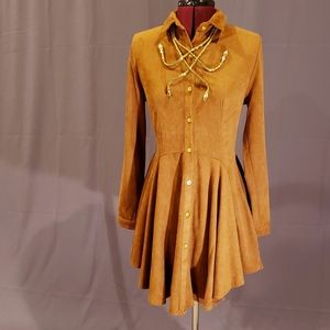 Faux suede dress in caramel brown